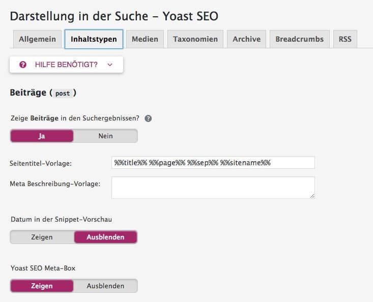 Yoast SEO: Darstellung in der Suche