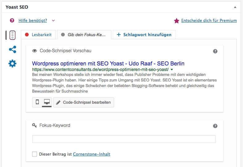 Yoast SEO - Artikel optimieren