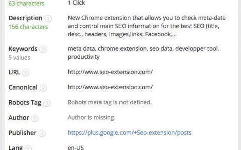 SEO Meta in 1 Click: Metadaten sichtbar machen