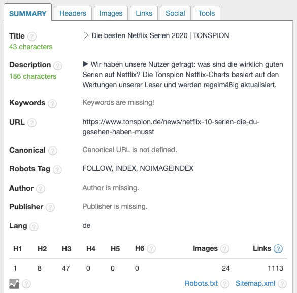 Google Snippet Check