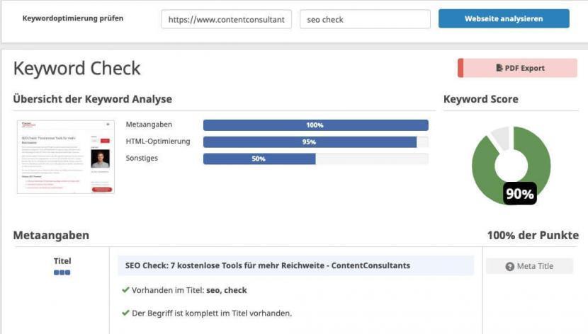 Keyword Check von Seobility mit Keyword Score