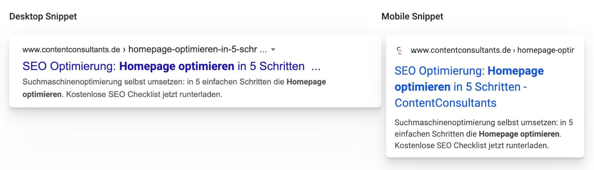 homepage optimieren - Google Snippet